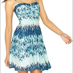 Guess Blue Watercolor Bustier Mini Dress